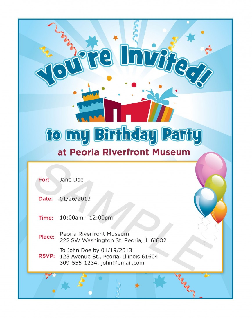 002 Fascinating Birthday Party Invitation Template Word Idea  Kid 90th Wording Sample 40th