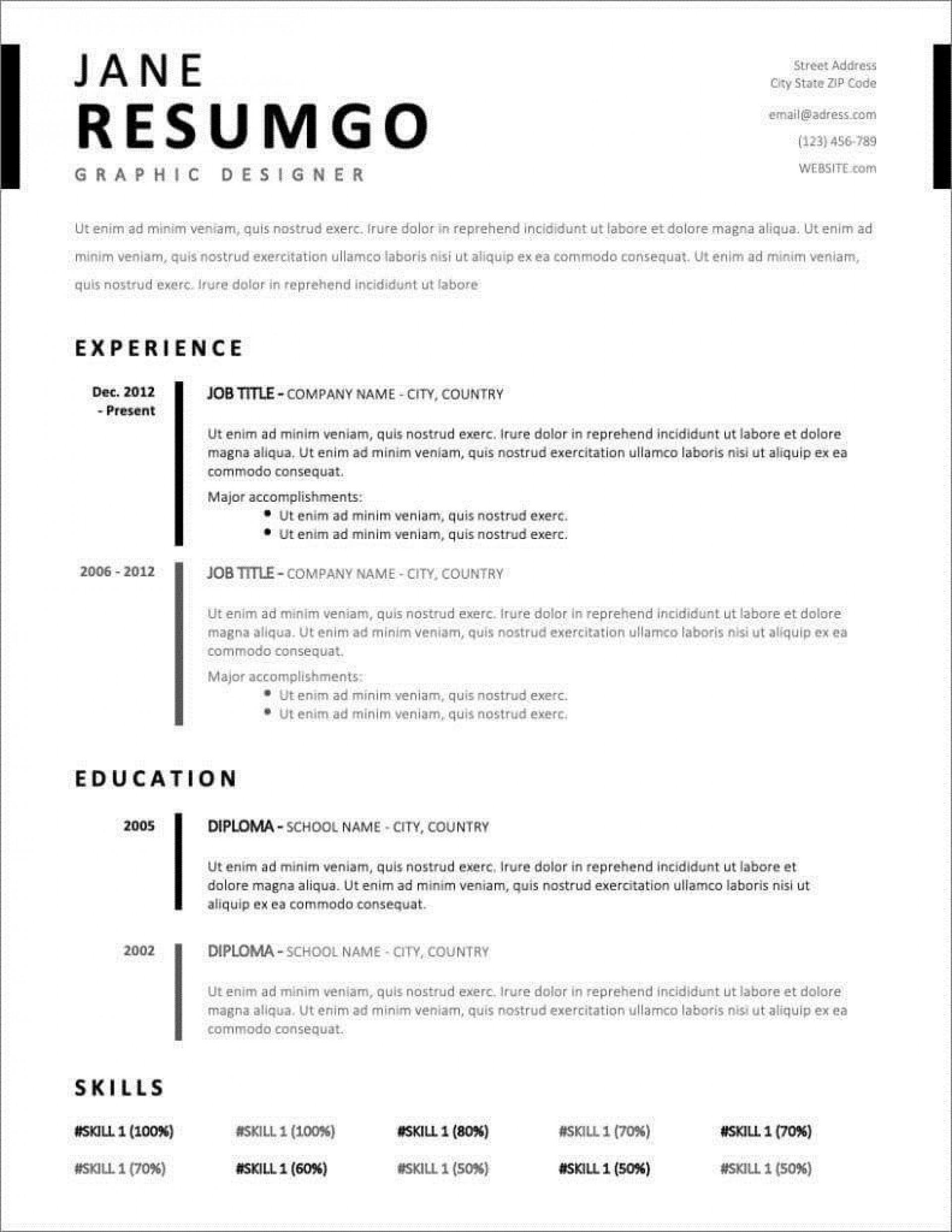 002 Fascinating Download Resume Sample Free Idea  Teacher Cv Graphic Designer Word Format Nurse Template1920
