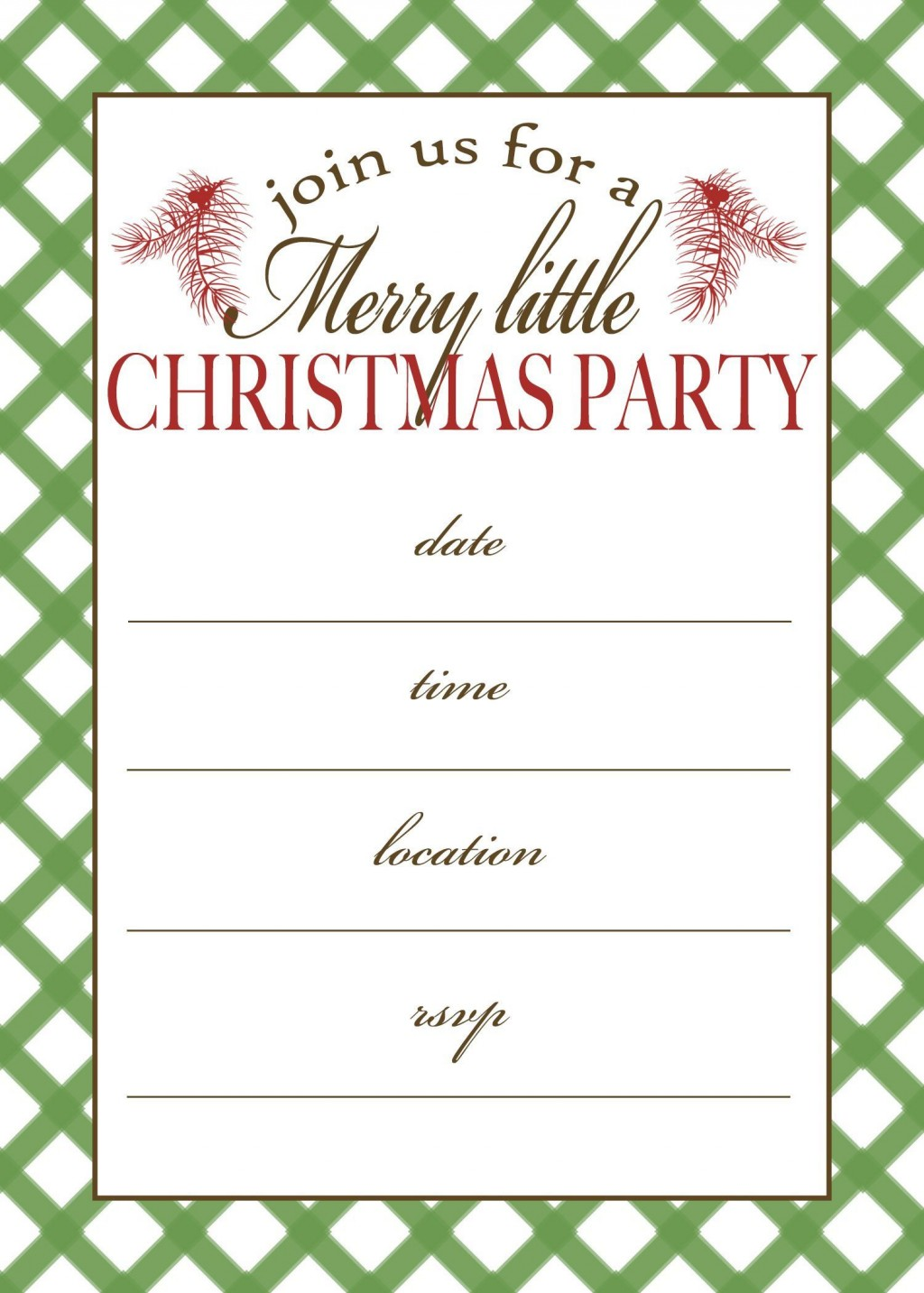 002 Fascinating Free Holiday Party Invitation Template For Word Photo Large