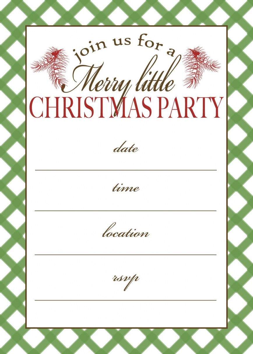 002 Fascinating Free Holiday Party Invitation Template For Word Photo