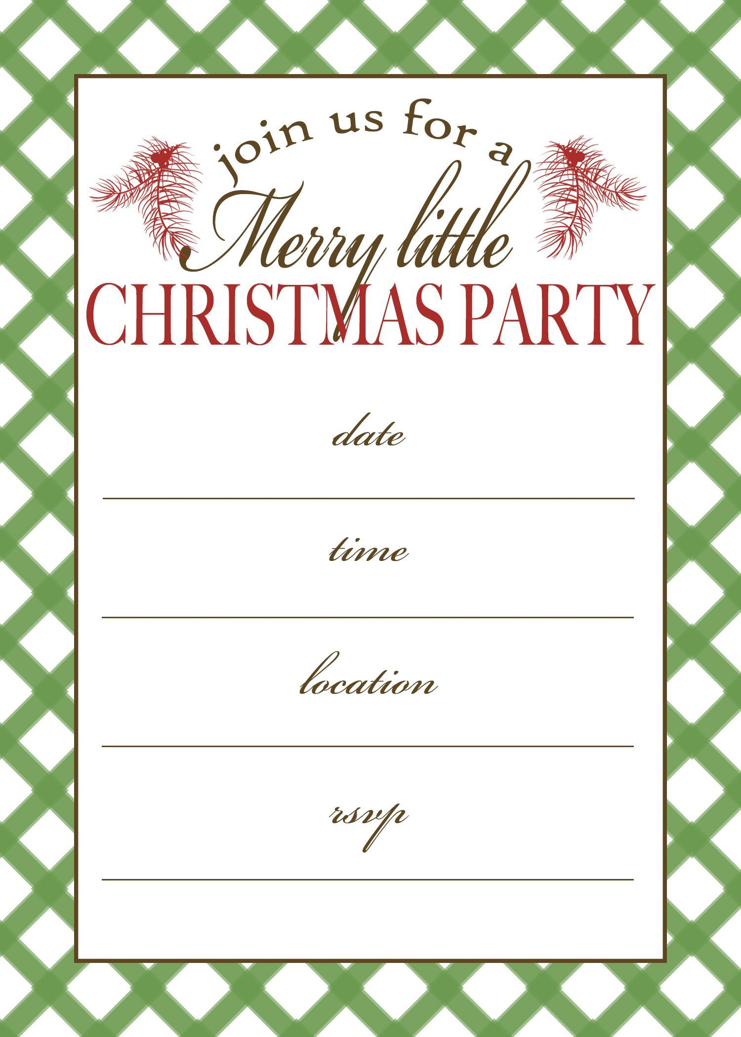 002 Fascinating Free Holiday Party Invitation Template For Word Photo Full