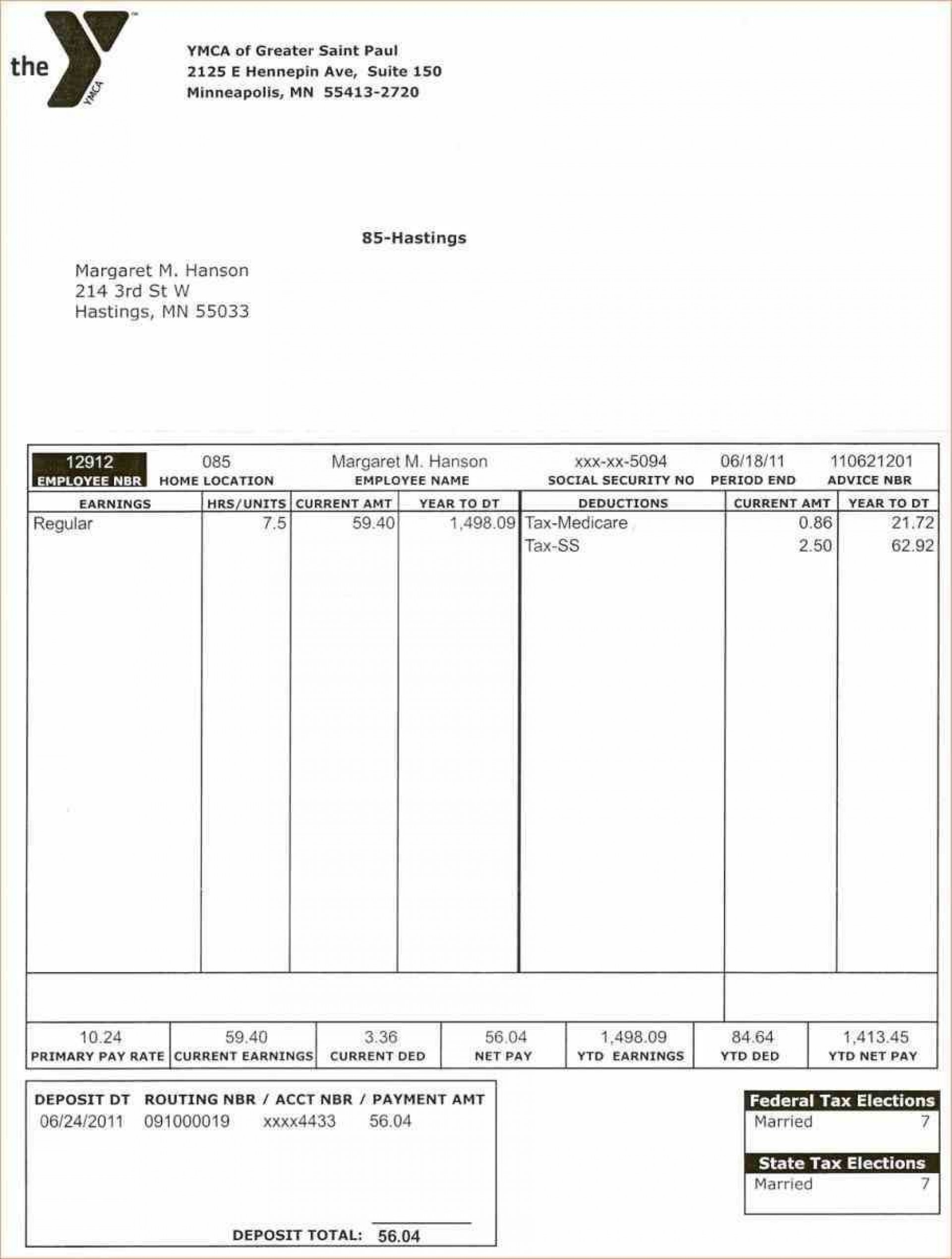 002 Fascinating Free Paycheck Stub Template Example  Check Download Pay1920