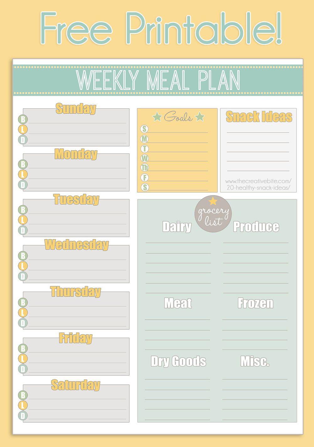 002 Fascinating Free Printable Weekly Meal Plan Template Example  Planning WorksheetFull