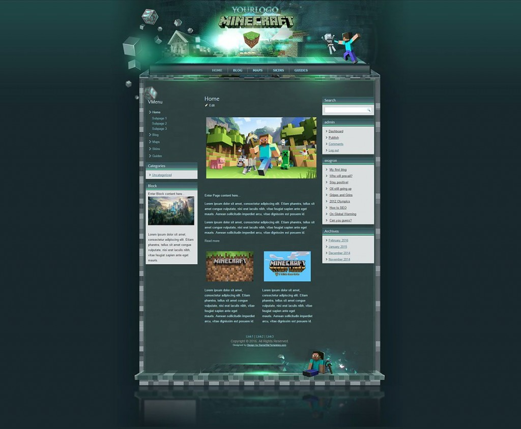 002 Fascinating Minecraft Website Template Html Free Download Photo Large