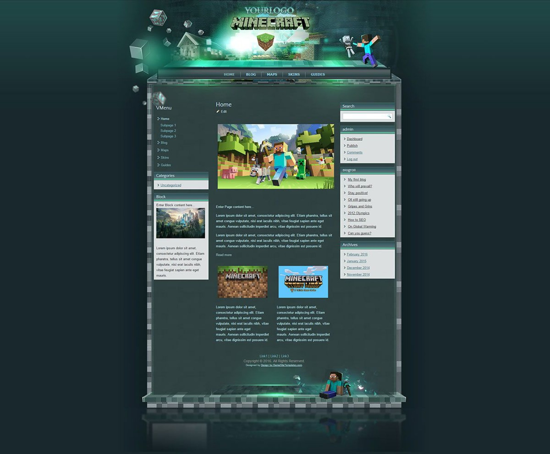 002 Fascinating Minecraft Website Template Html Free Download Photo 1920