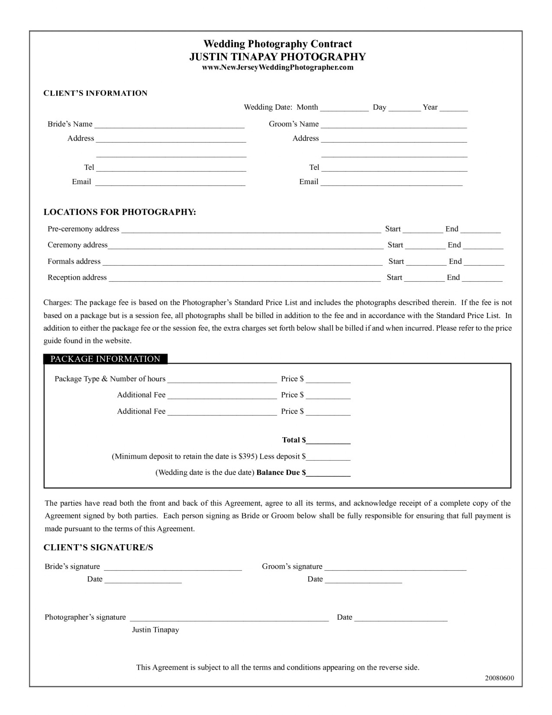 002 Fascinating Photography Contract Template Pdf Design  Free Portrait1920