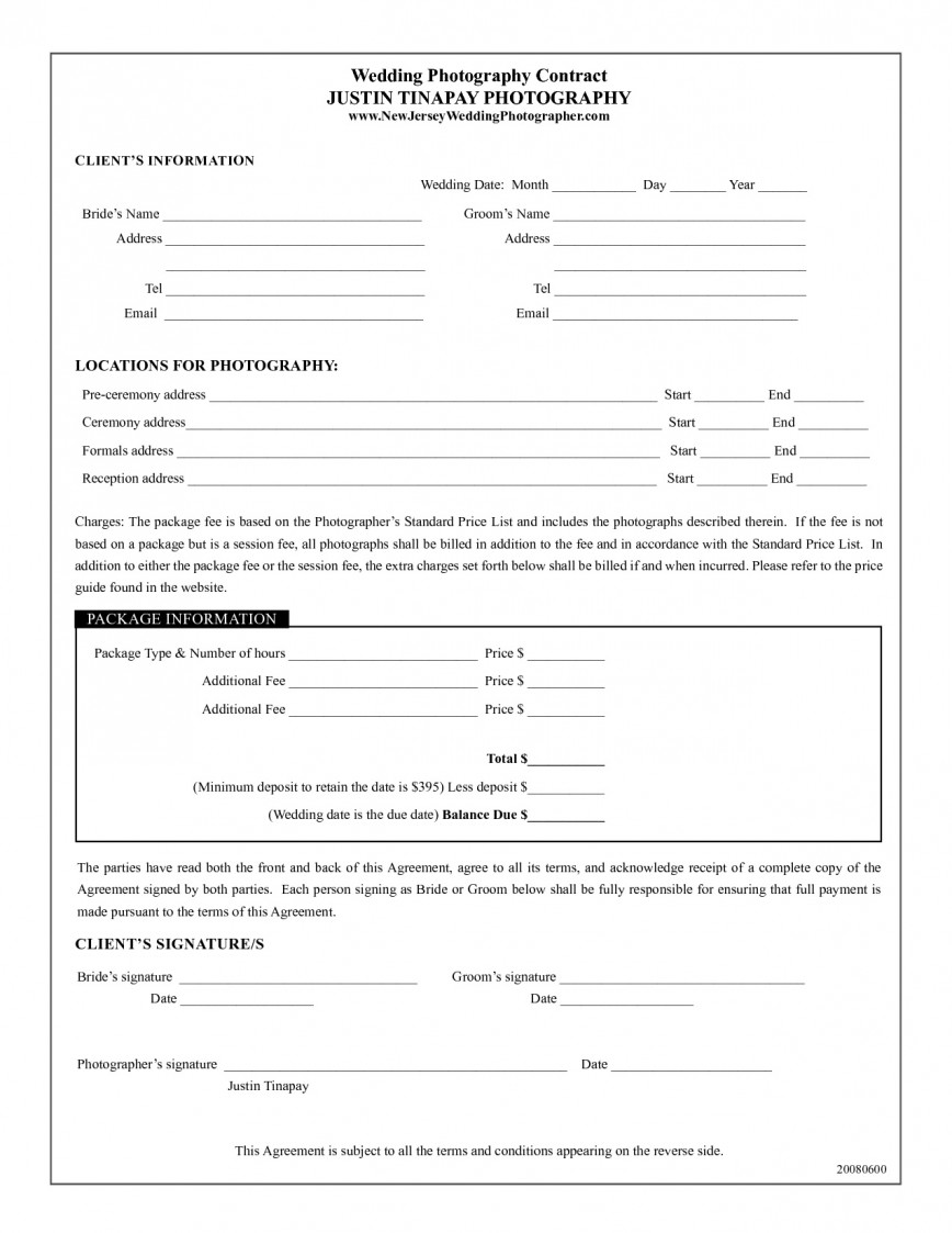 002 Fascinating Photography Contract Template Pdf Design  Event Free