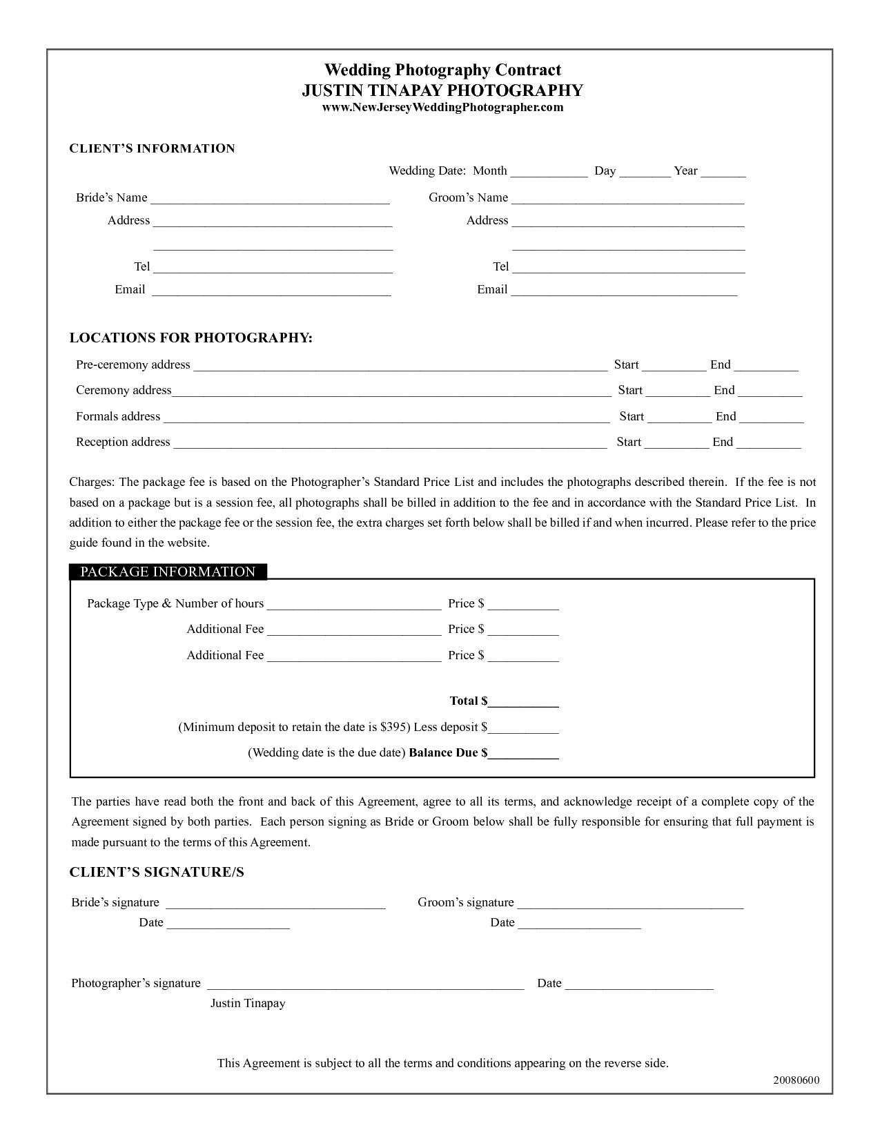 002 Fascinating Photography Contract Template Pdf Design  Free PortraitFull