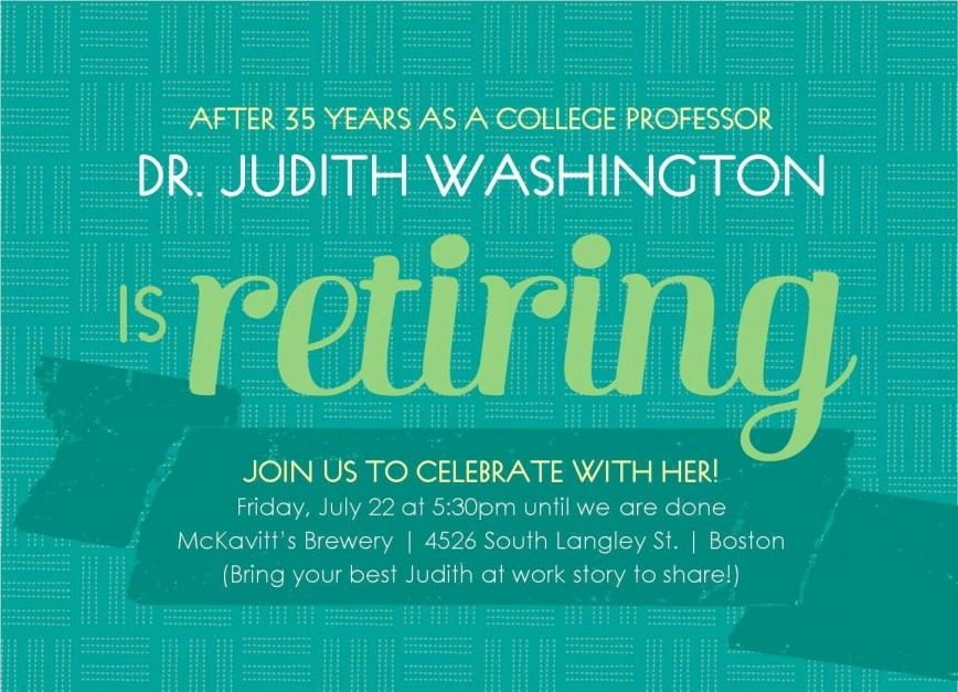 002 Fascinating Retirement Party Invitation Template Free Word Image  M868