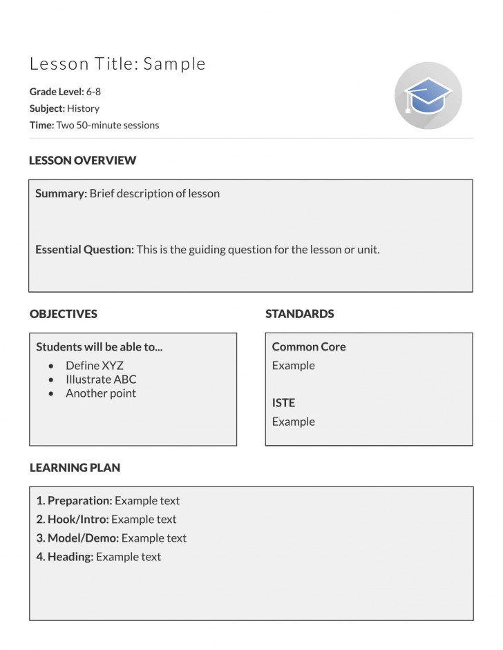 002 Fascinating Simple Lesson Plan Template Sample  Basic Format For Preschool Doc Kindergarten728