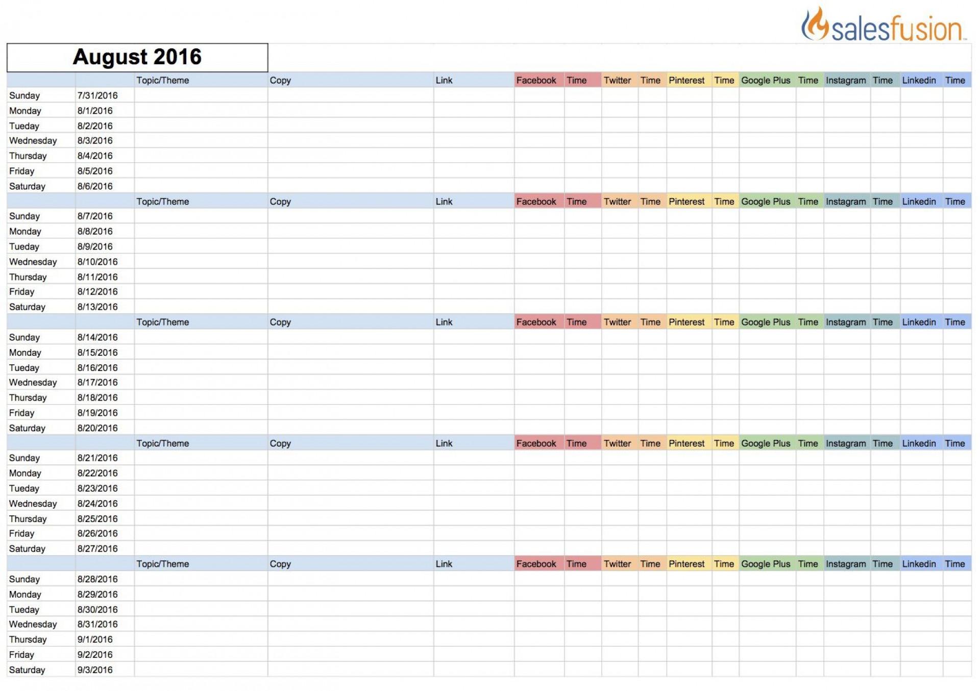 002 Fascinating Social Media Editorial Calendar Template Concept  Content Excel 2020 Free Download1920