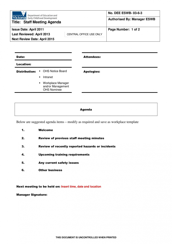 002 Fascinating Staff Meeting Agenda Template Example  Format1920