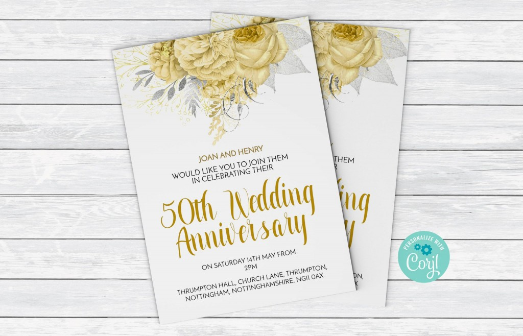 002 Fearsome 50th Wedding Anniversary Invitation Template Design  Templates Card Sample GoldenLarge