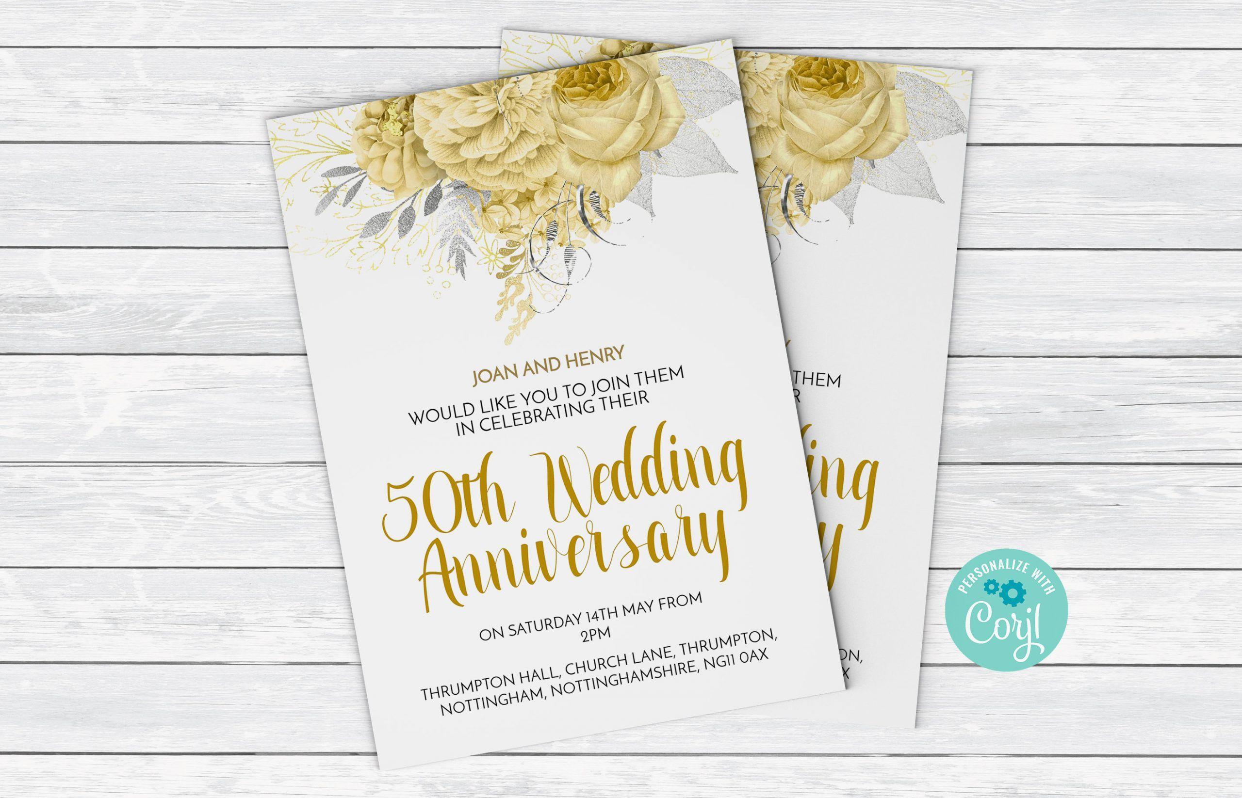 002 Fearsome 50th Wedding Anniversary Invitation Template Design  Templates Card Sample GoldenFull