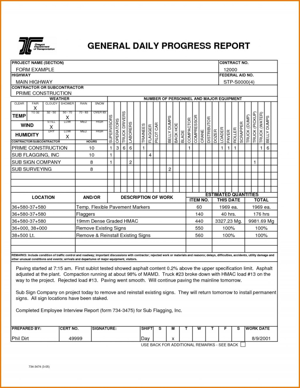 002 Fearsome Construction Daily Report Template Design  Free Excel Work FormatLarge