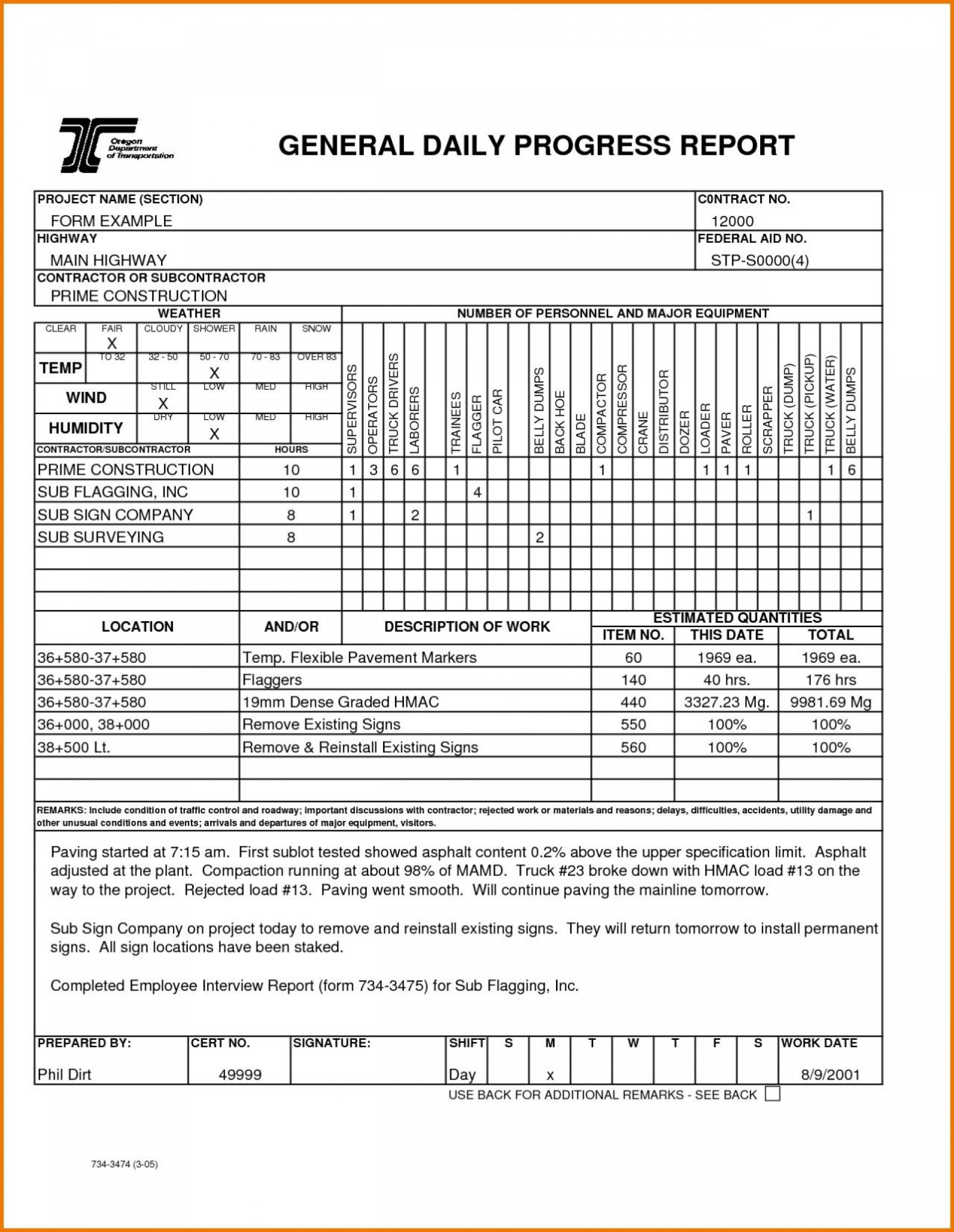 002 Fearsome Construction Daily Report Template Design  Free Excel Work Format1920