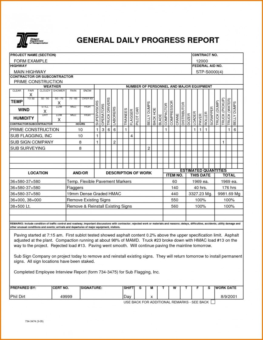 002 Fearsome Construction Daily Report Template Design  Free Format In Excel Word