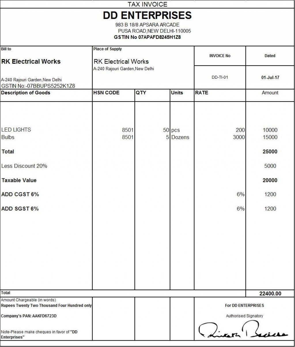 002 Fearsome Excel Gst Invoice Format Download Idea  In Pdf Tally Tax Free SheetLarge