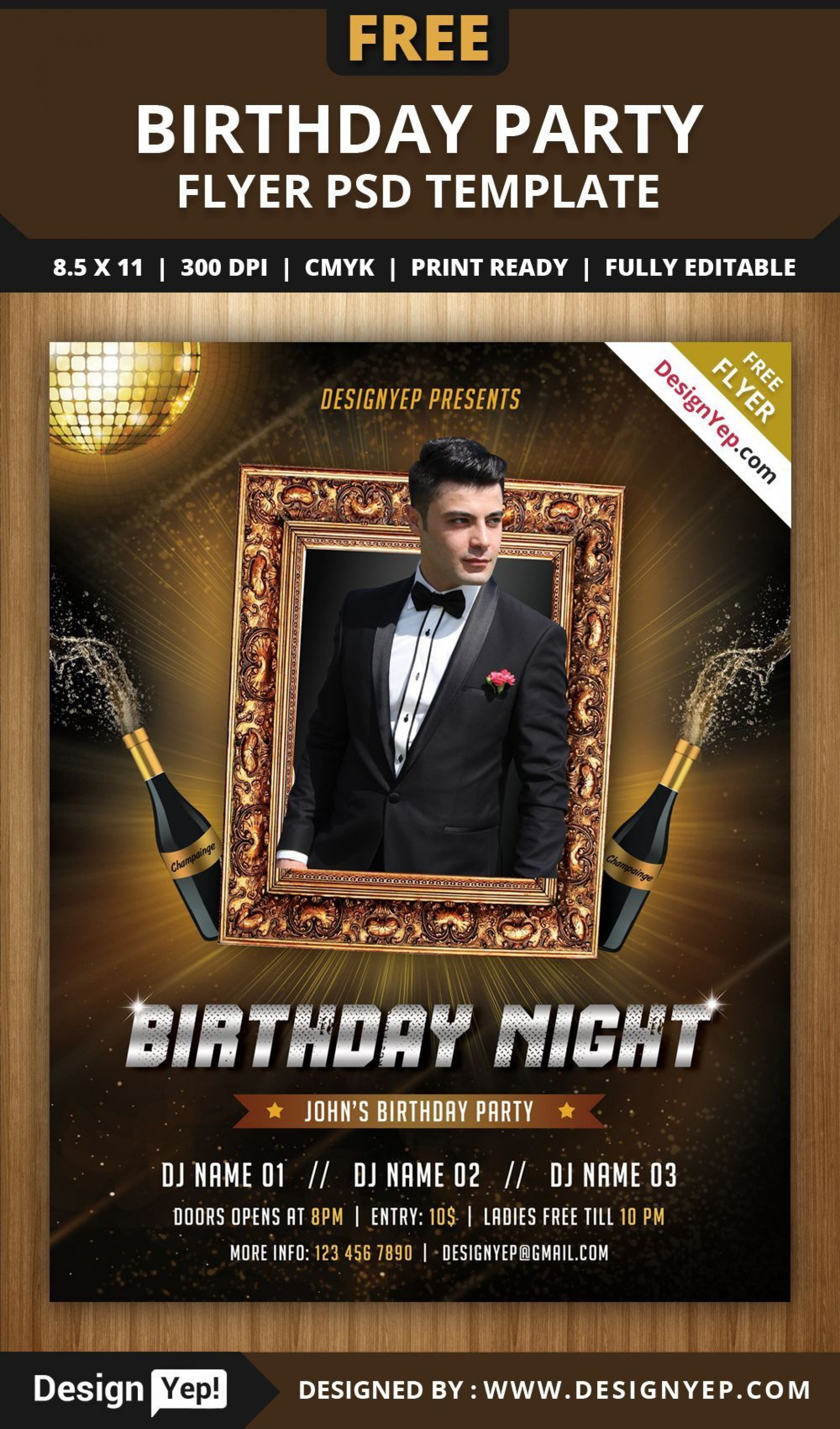 002 Fearsome Free Birthday Flyer Template Psd Inspiration  Foam Party - Neon Glow Download Pool1920