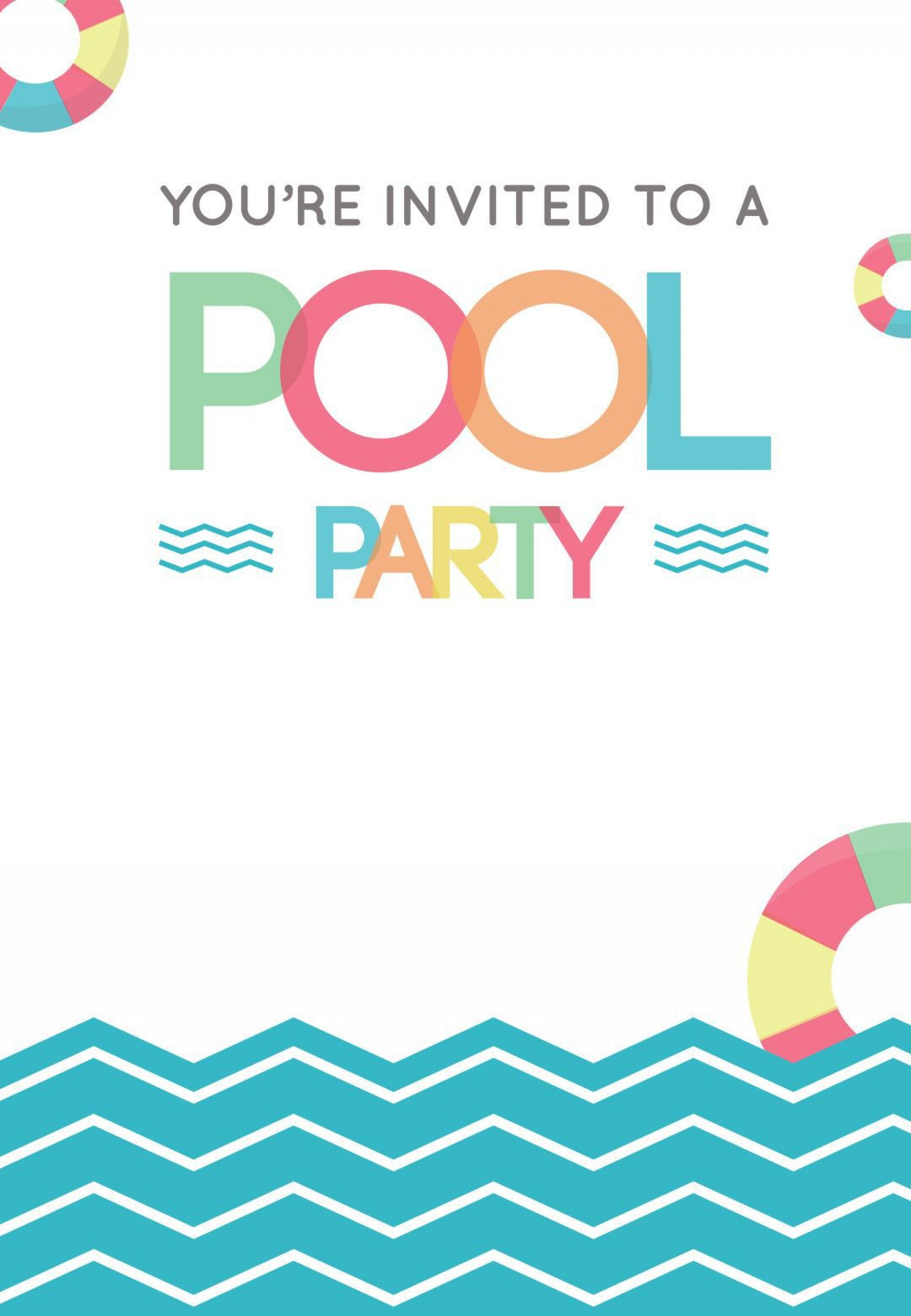 002 Fearsome Free Pool Party Invitation Template Printable Image  Card Summer1920
