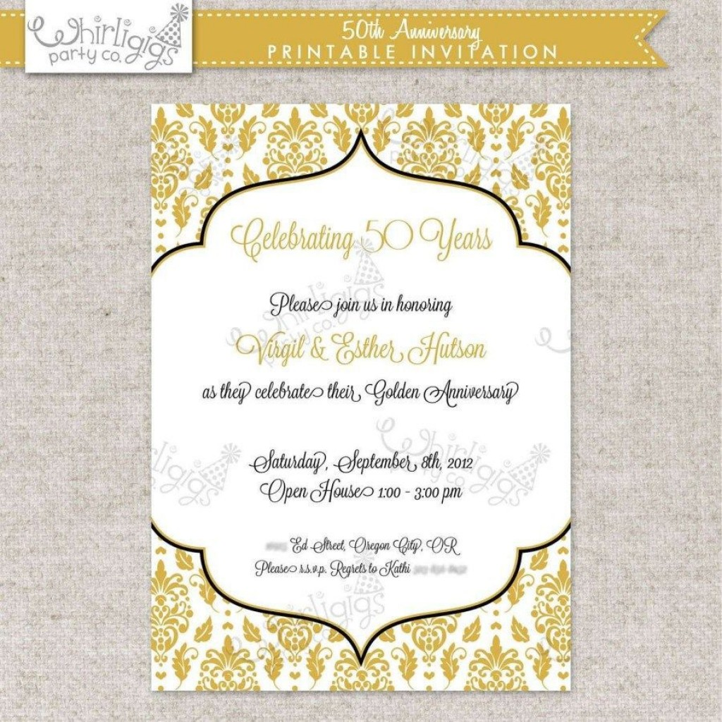 002 Fearsome Free Printable 50th Wedding Anniversary Invitation Template Concept Large