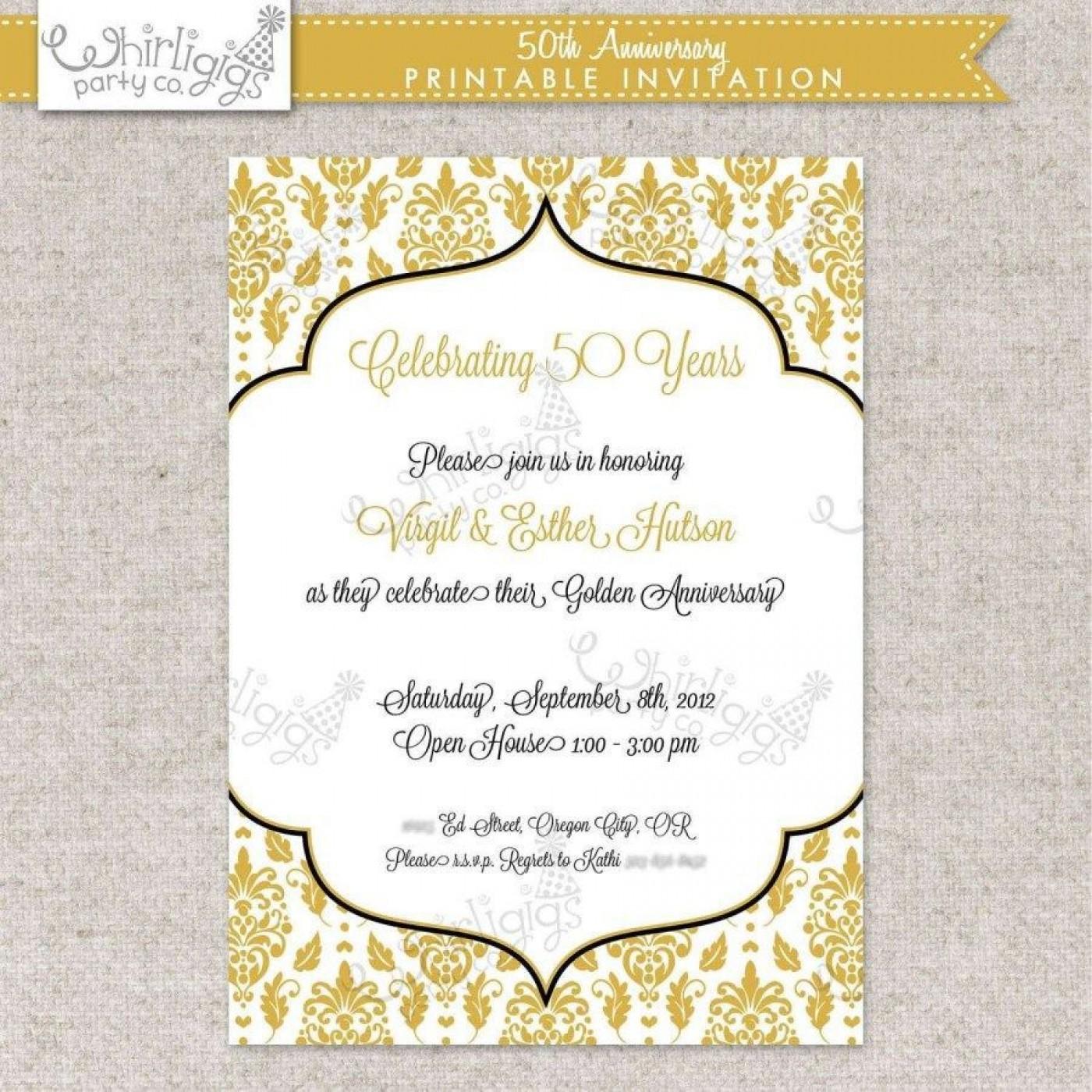 002 Fearsome Free Printable 50th Wedding Anniversary Invitation Template Concept 1400