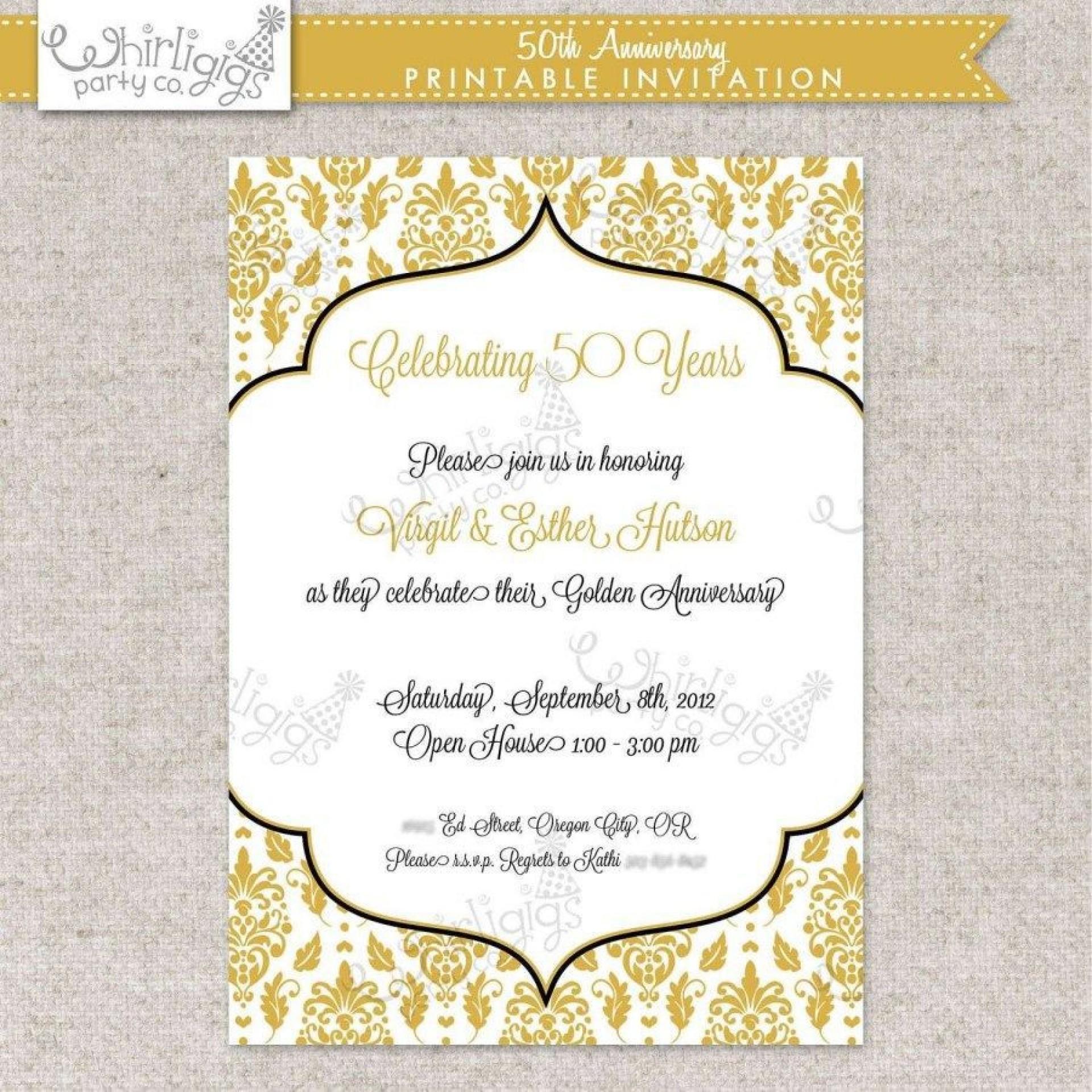 002 Fearsome Free Printable 50th Wedding Anniversary Invitation Template Concept 1920