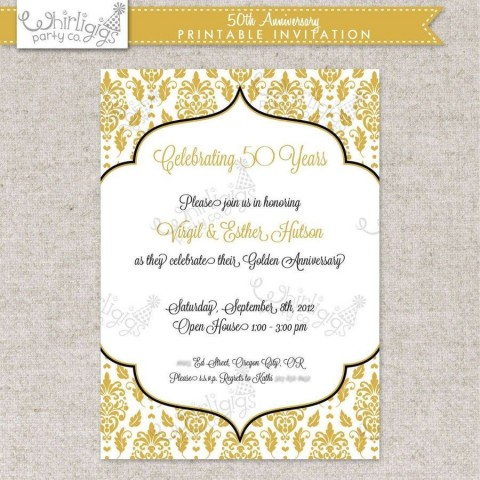 002 Fearsome Free Printable 50th Wedding Anniversary Invitation Template Concept 480