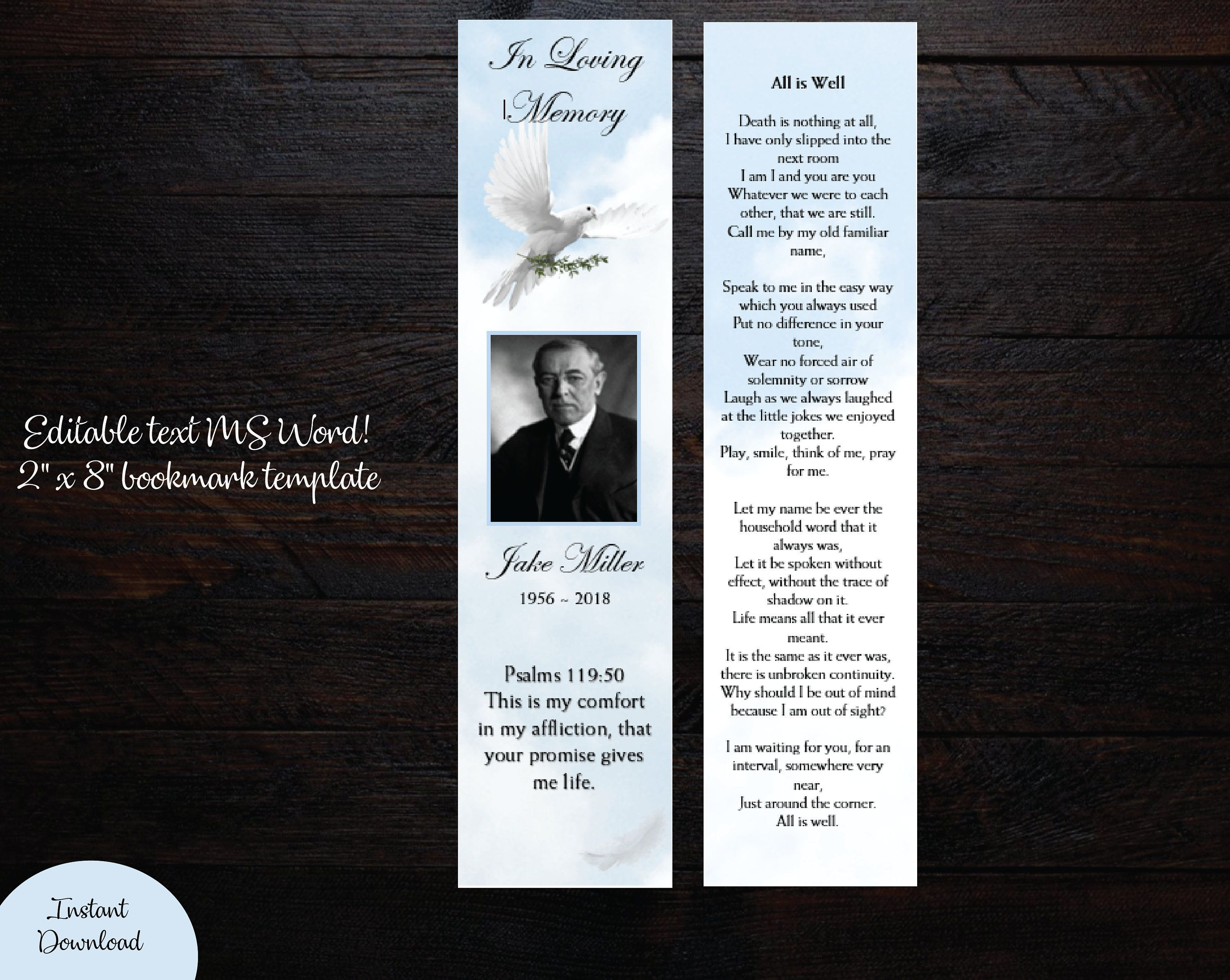 002 Fearsome In Loving Memory Bookmark Template Free Download Highest Clarity Full