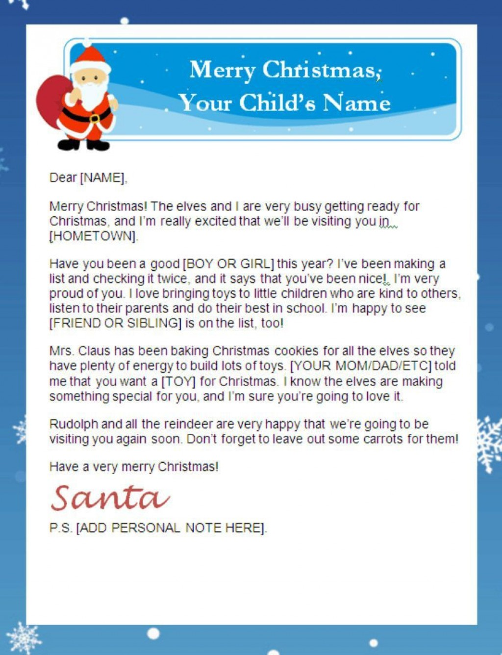 002 Fearsome Letter From Santa Template Example  Free Printable Word Doc UkLarge