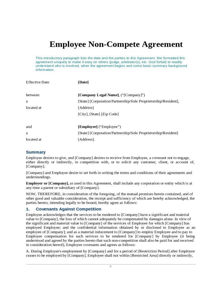 002 Fearsome Non Compete Agreement Template Word Design  Microsoft Non-compete FreeFull