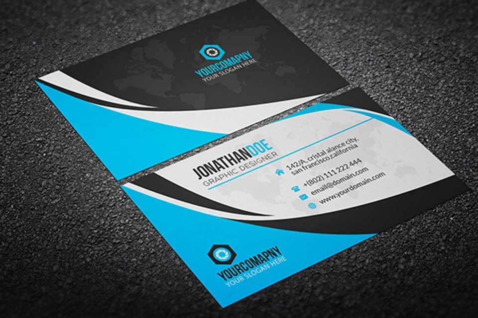 002 Fearsome Psd Busines Card Template Design  Computer Free With Bleed960