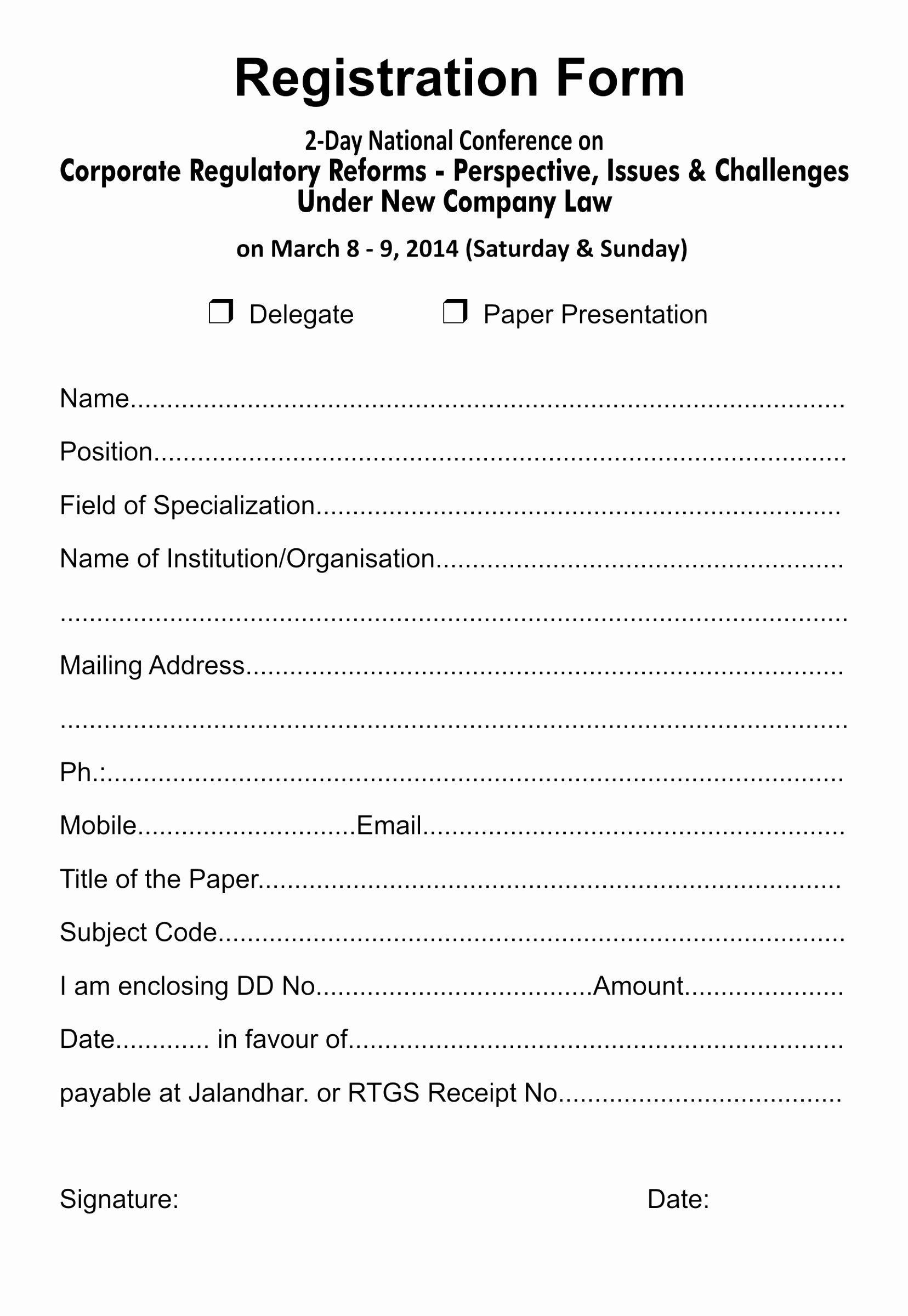 002 Fearsome Registration Form Template Word Design  Conference FreeFull