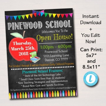 002 Fearsome School Open House Flyer Template Highest Quality  Elementary Free Word360
