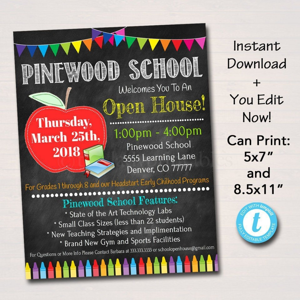 002 Fearsome School Open House Flyer Template Highest Quality  Elementary Free Word960