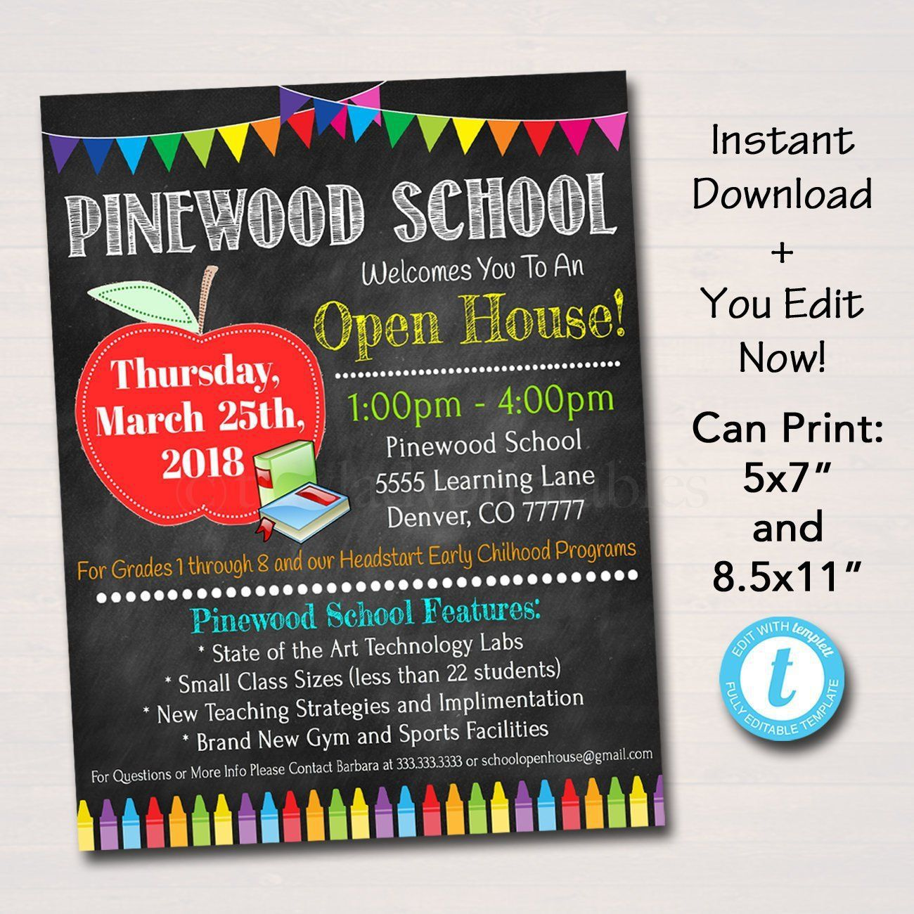 002 Fearsome School Open House Flyer Template Highest Quality  Elementary Free Word