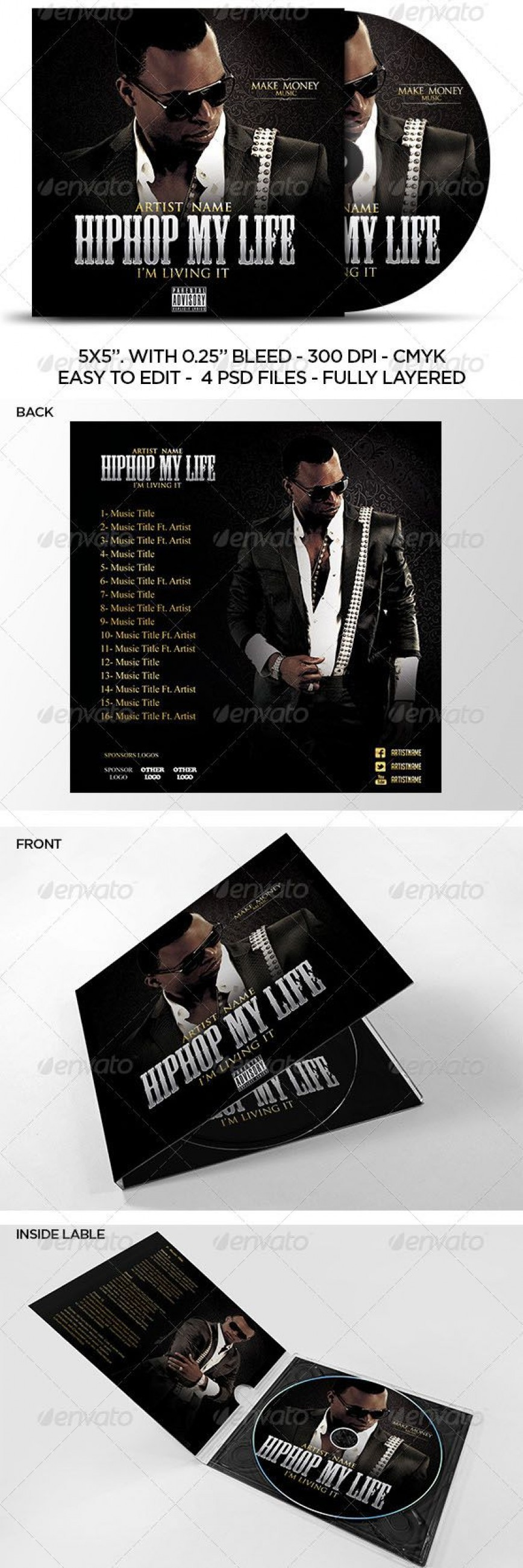 002 Formidable Cd Cover Template Psd Highest Clarity  Label Free Jewel Case Photoshop Download