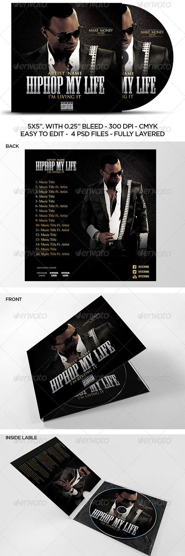 002 Formidable Cd Cover Template Psd Highest Clarity  Sleeve Case Free Download LayoutFull