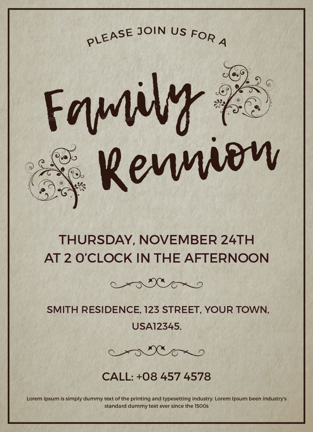 002 Formidable Family Reunion Flyer Template Word High Def Large