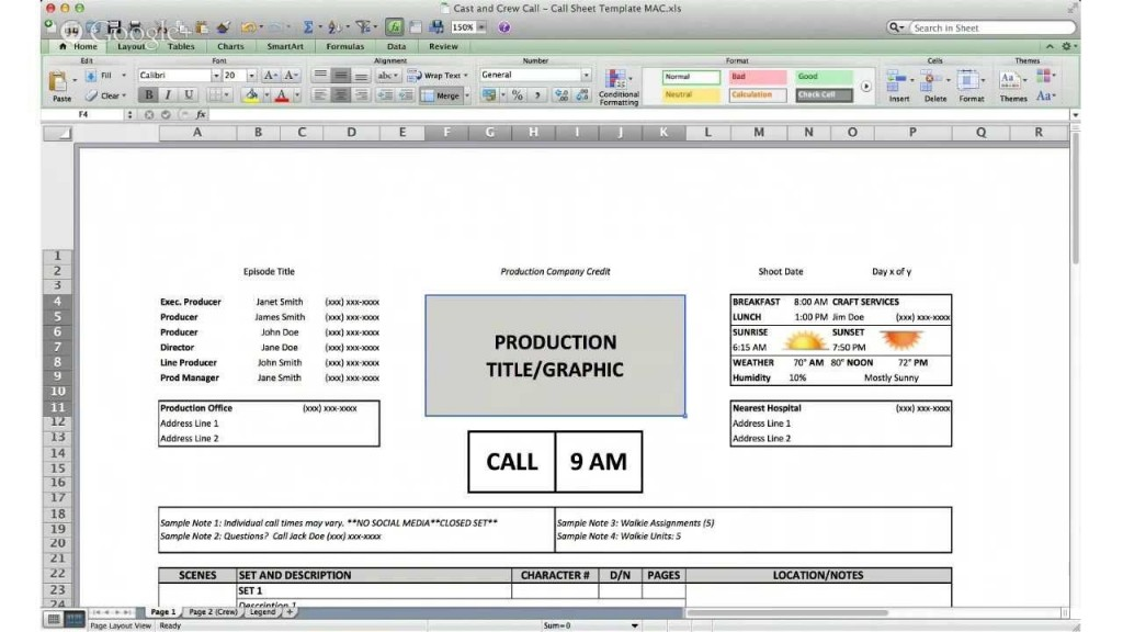 002 Formidable Film Call Sheet Sample  Template Download Excel Google DocLarge