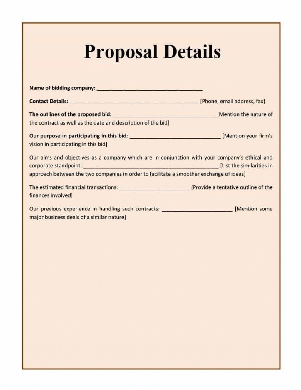 002 Formidable Free Bid Proposal Template High Resolution  Printable Form Word Construction DownloadLarge