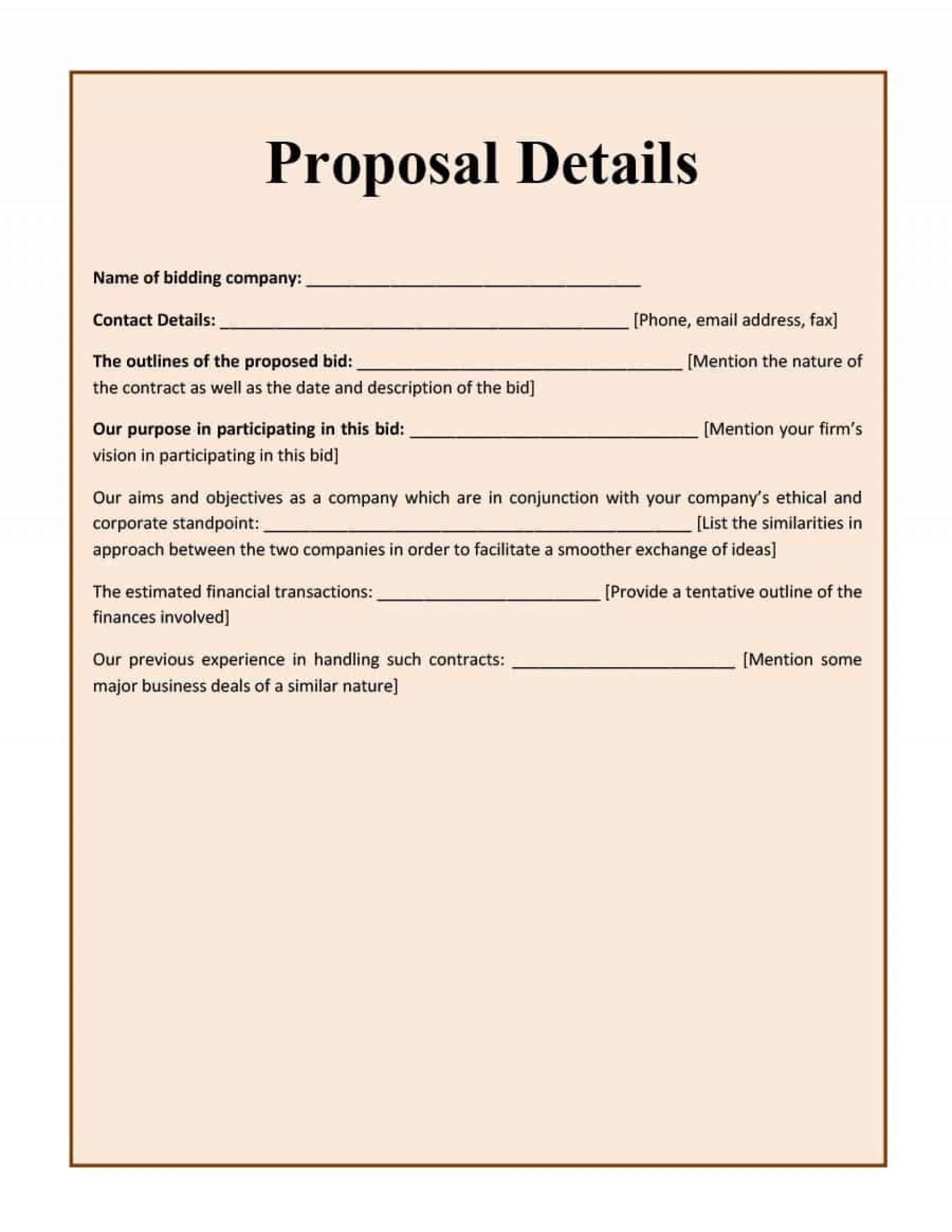002 Formidable Free Bid Proposal Template High Resolution  Printable Form Word Construction Download1920