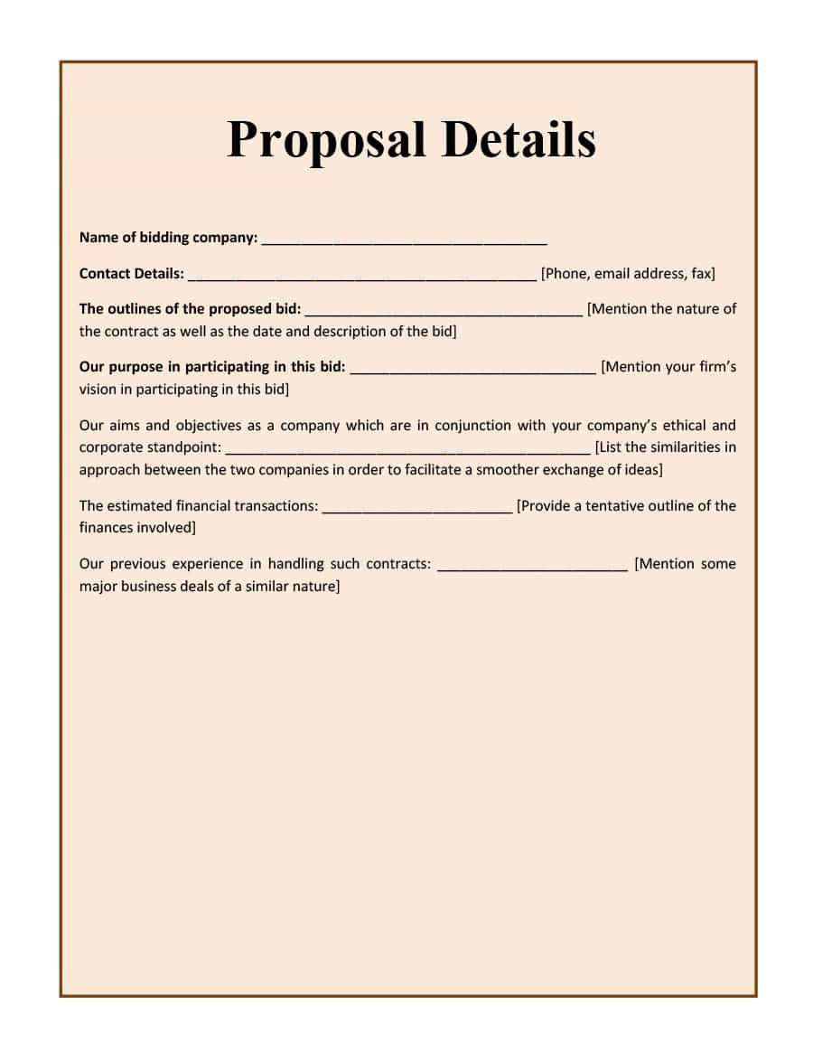 002 Formidable Free Bid Proposal Template High Resolution  Printable Form Word Construction DownloadFull