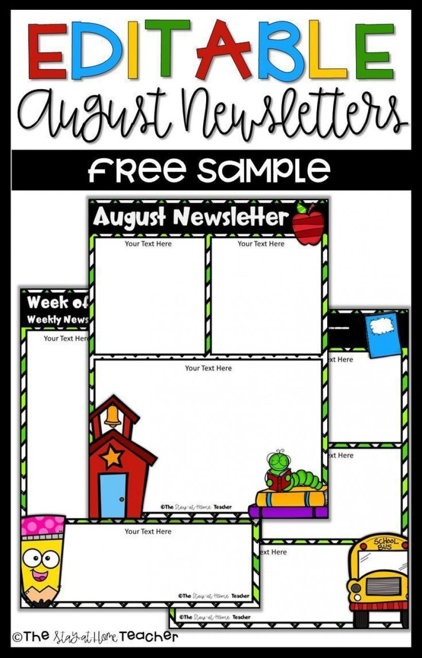 002 Formidable Weekly Newsletter Template For Teacher Free Picture