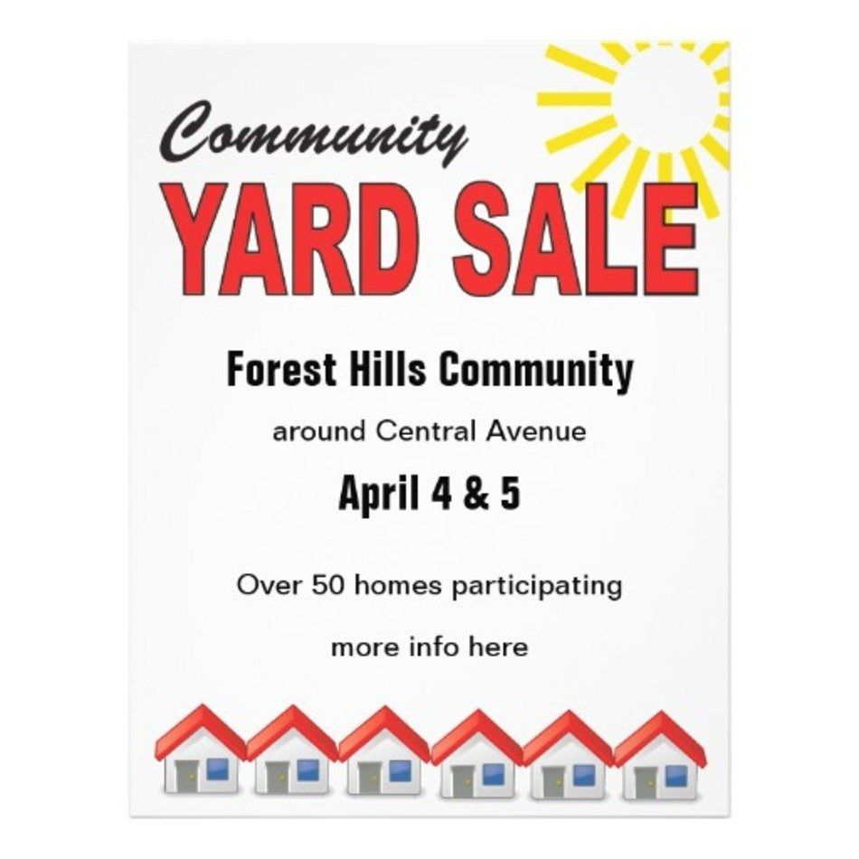 002 Formidable Yard Sale Flyer Template Free Sample  Community GarageFull