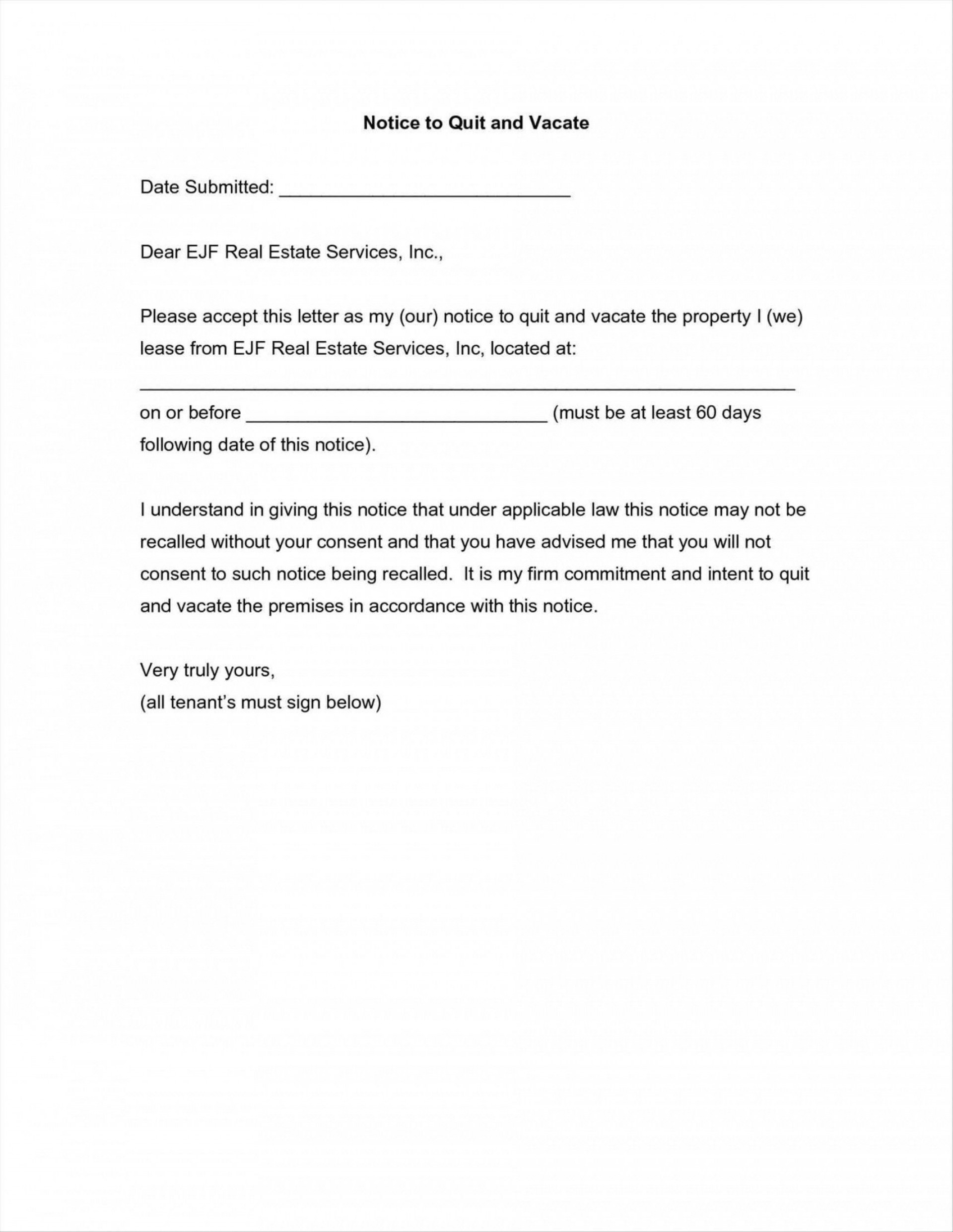 002 Frightening 60 Day Notice Template Highest Clarity  To Landlord Move Out Letter Apartment Lease1920