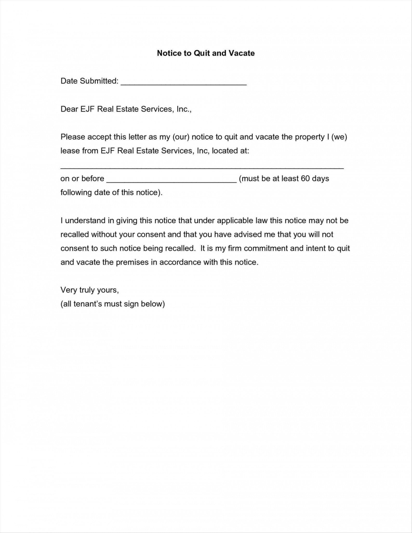 002 Frightening 60 Day Notice Template Highest Clarity  To Landlord Move Out Letter Apartment LeaseFull