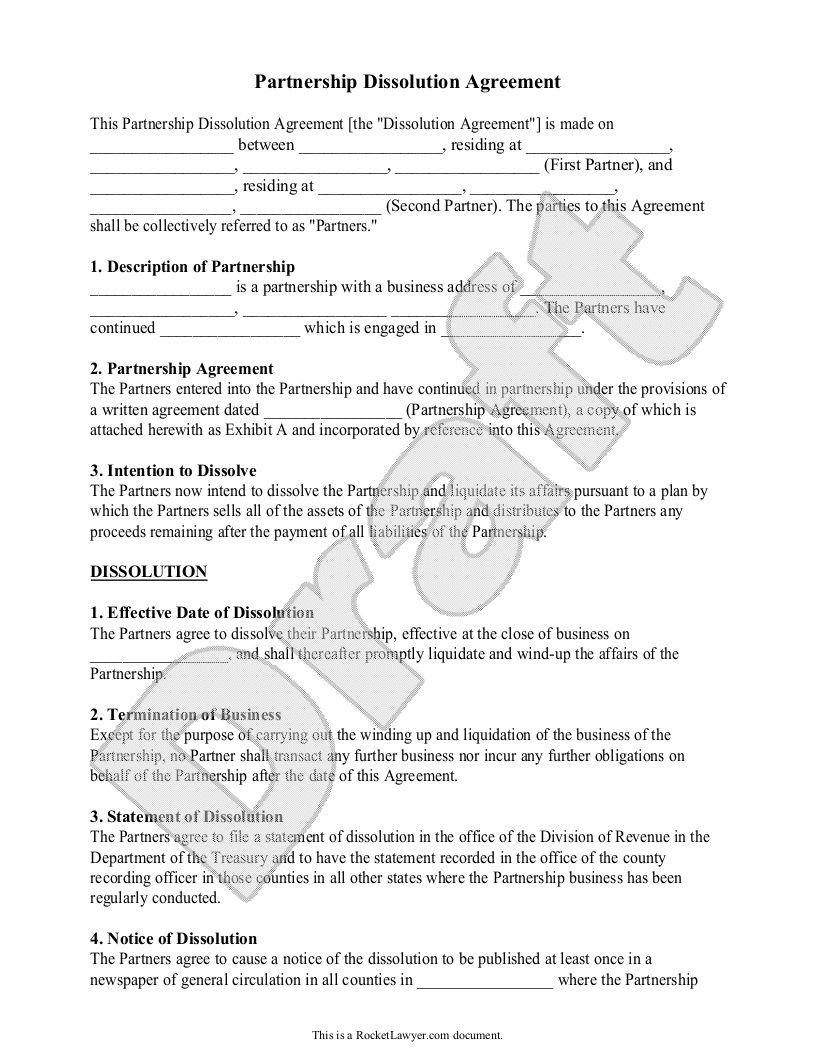 002 Frightening Busines Partnership Separation Agreement Template High Def  Partner TerminationFull