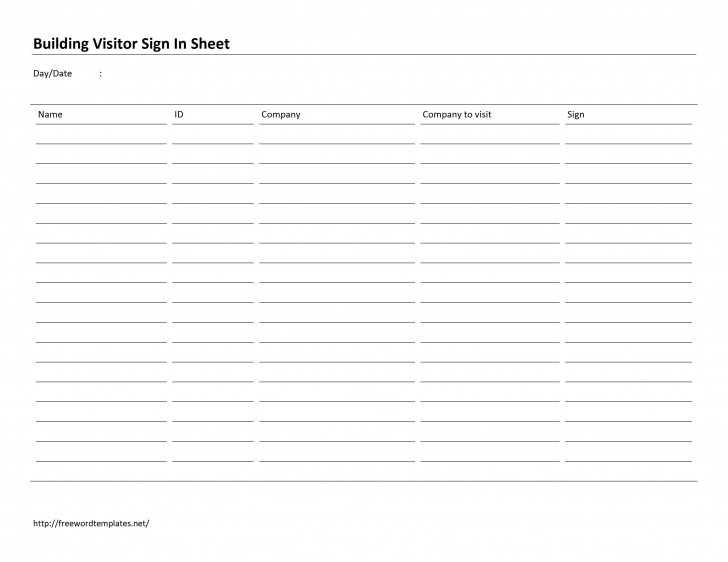 002 Frightening Busines Visitor Sign In Sheet Template Picture 728