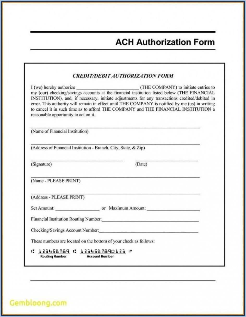 002 Frightening Direct Deposit Agreement Authorization Form Template Image Large